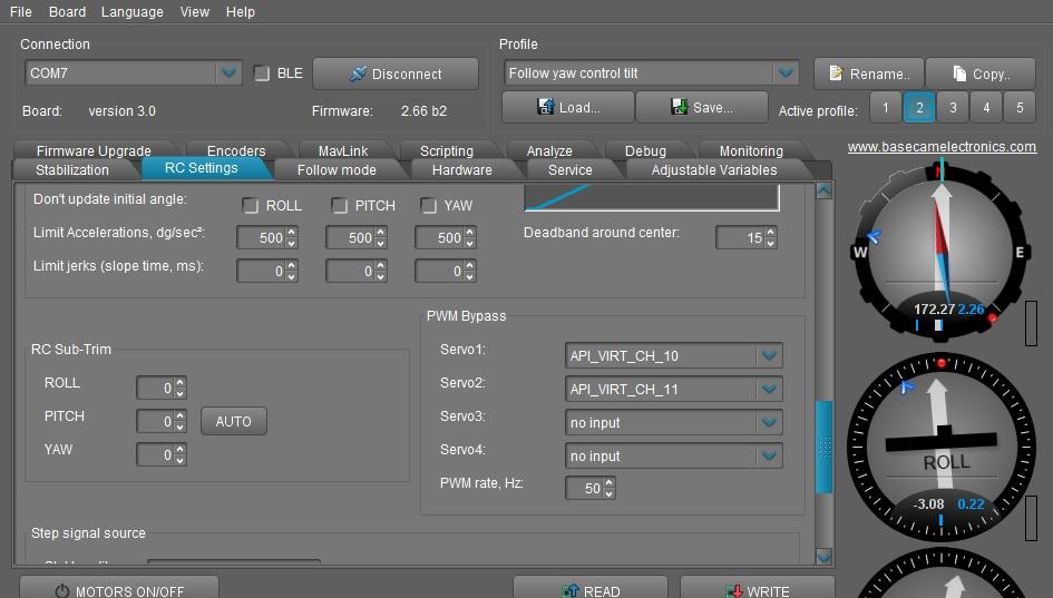 alexmos settings for servo relay outputs