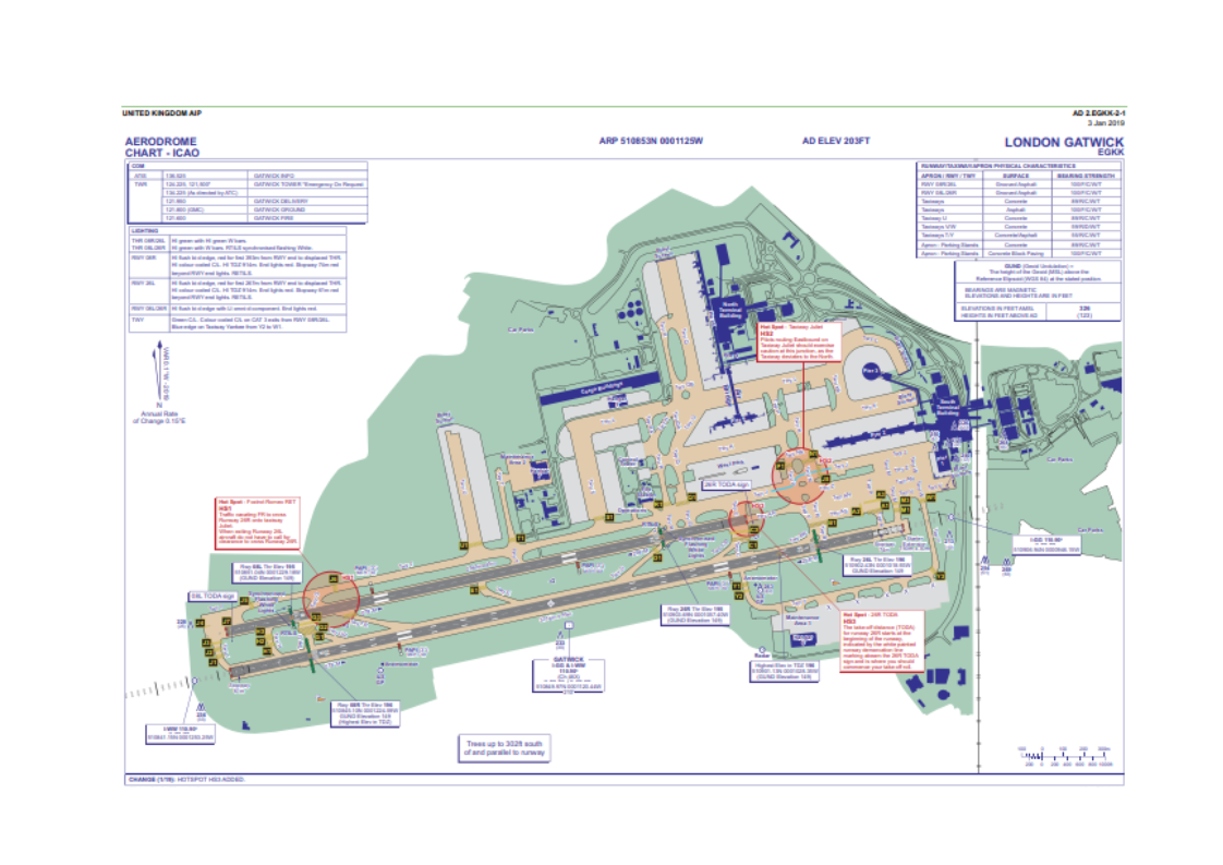 ICAO map of Gatwick airport