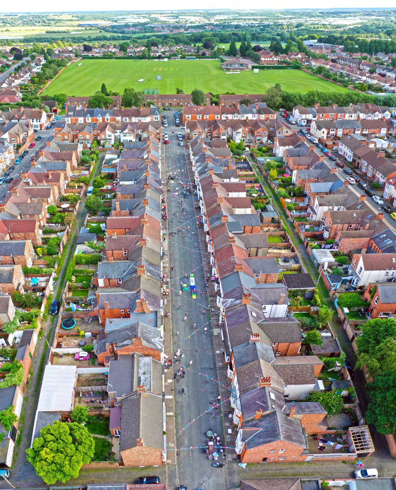 street aerial drone photography northampton